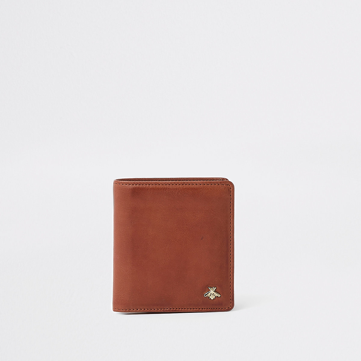 Brown tan wasp embellished fold out wallet