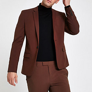 Roestbruin stretch skinny-fit colbert