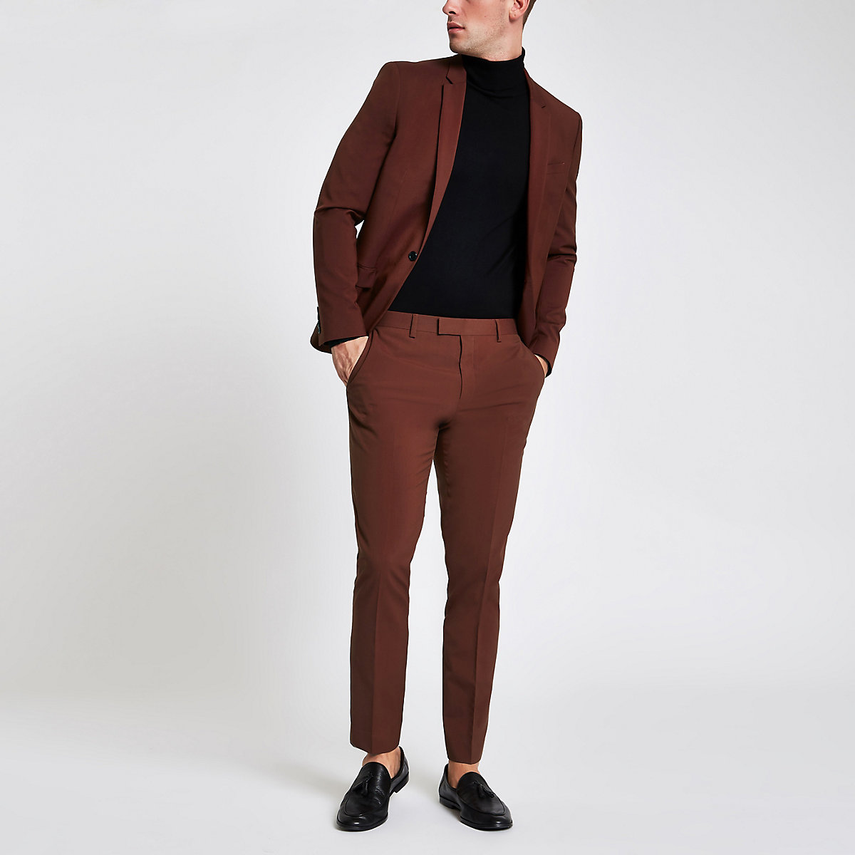 Rust stretch skinny fit suit trousers