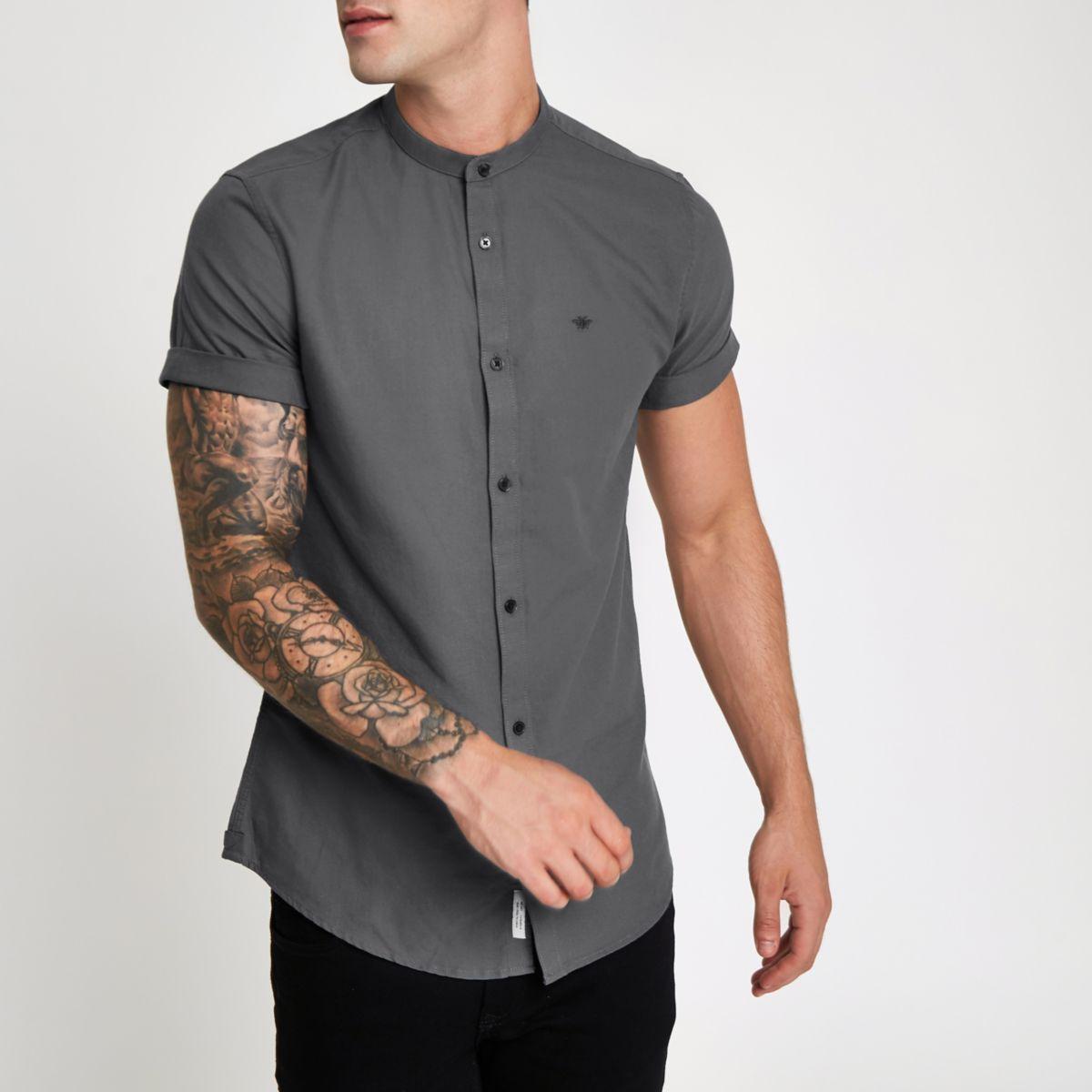 Grey wasp embroidered grandad Oxford shirt