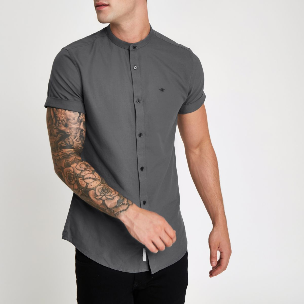 Grey wasp embroidered grandad Oxford shirt