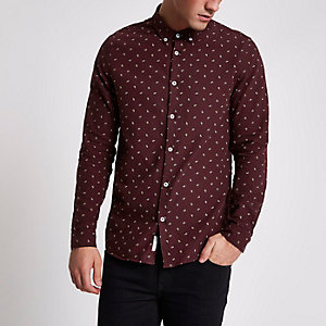 Dark red paisley long sleeve Oxford shirt