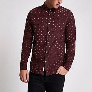 Donkerrood Oxford overhemd met paisleyprint en lange mouwen