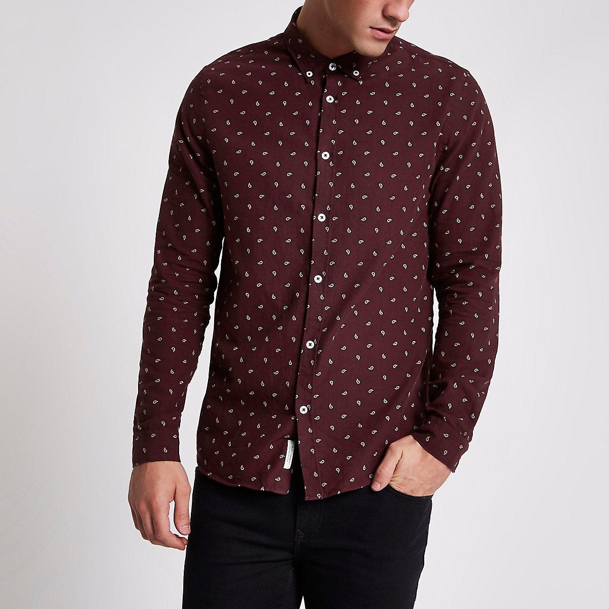 Dark red paisley long sleeve Oxford shirt