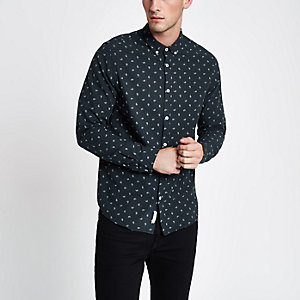 Chemise Oxford motif cachemire bleu marine à manches longues