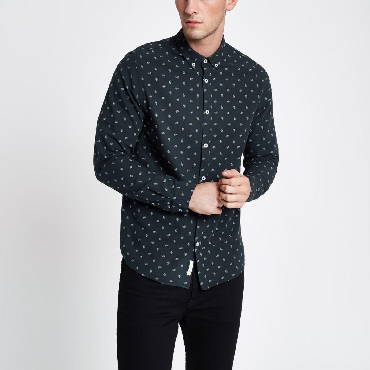 Navy paisley long sleeve Oxford shirt
