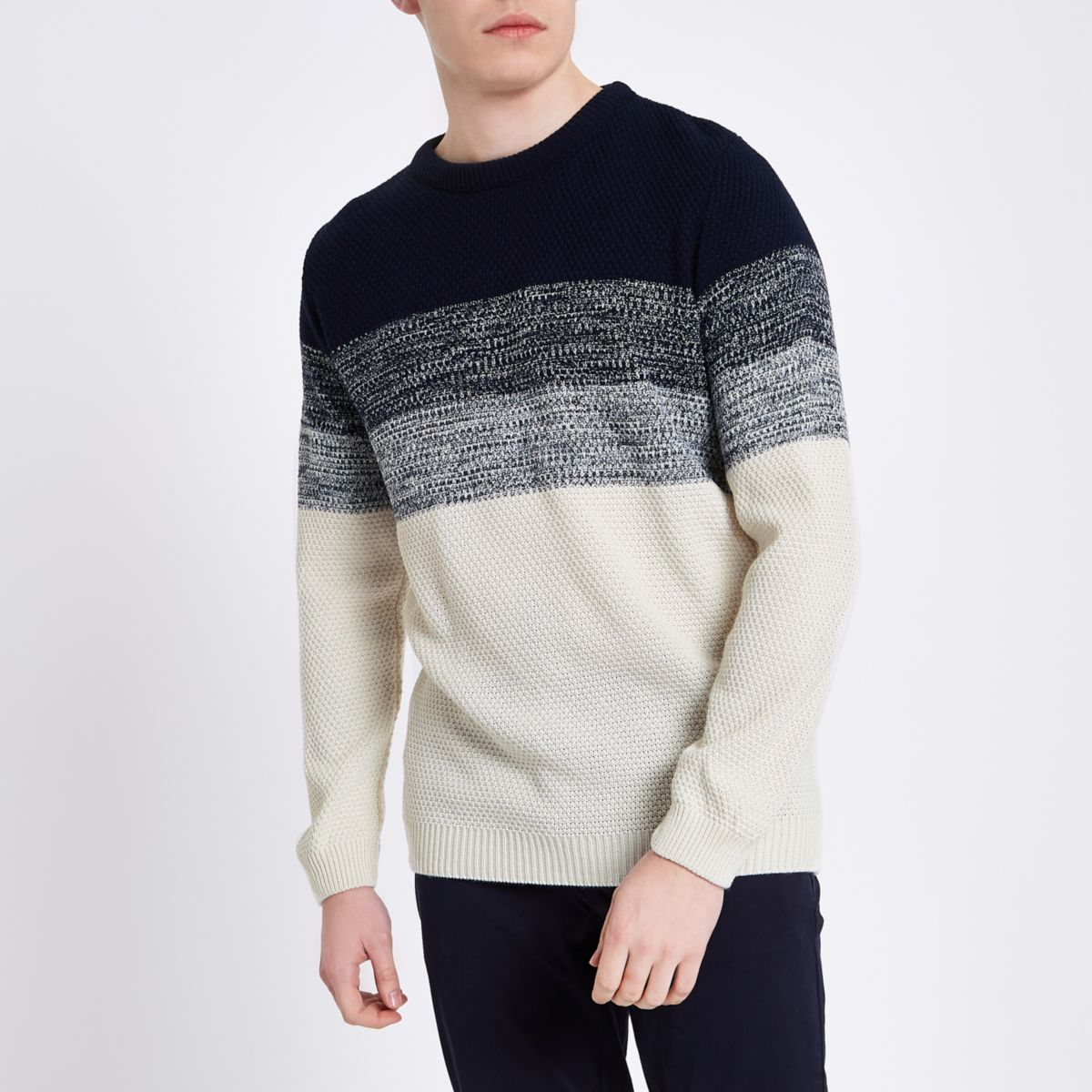 Navy and cream ombre knit sweater
