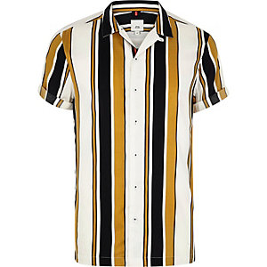 Big and Tall yellow stripe print revere shirt