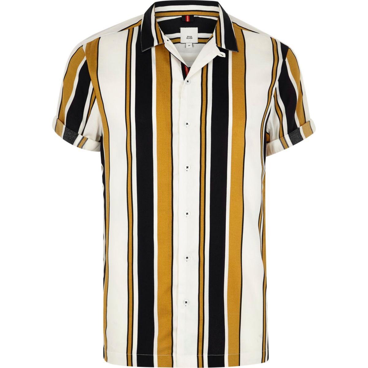Big and Tall yellow stripe print revere shirt