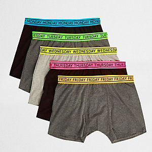 Green weekday print trunks multipack
