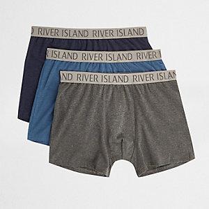 Multipack blauwe boxers met RI-logo