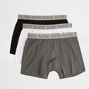 Lot de boxers longs imprimé RI gris