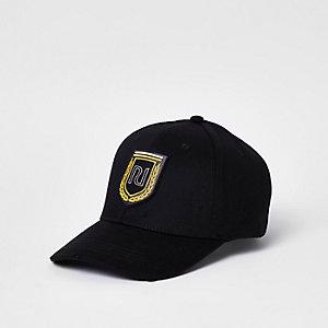 Zwarte geborduurde baseballpet met RI-logo