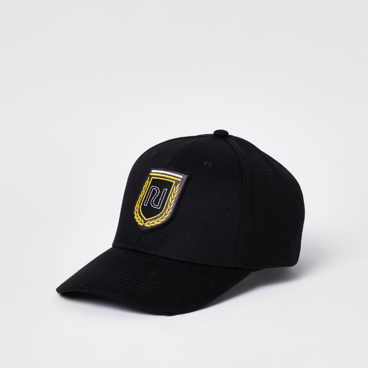 Black RI shield embroidered baseball cap