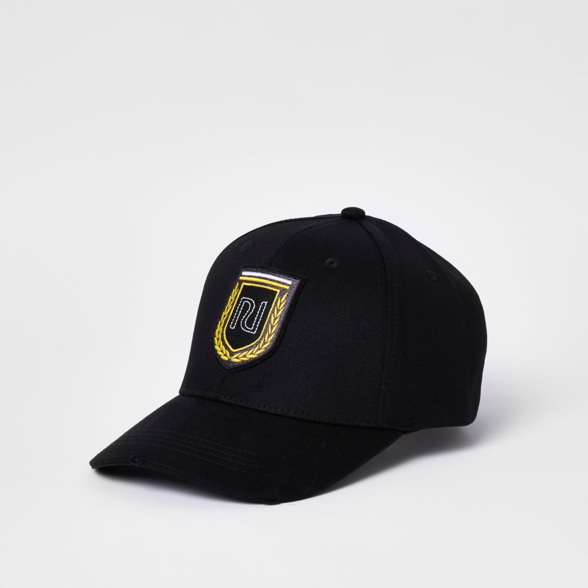 Black RI shield embroidered baseball cap