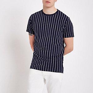 Bellfield - Marineblauw gestreept T-shirt met ronde hals