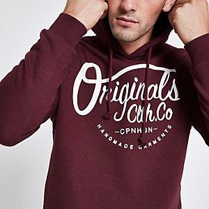 Jack and Jones Originals burgundy hoodie