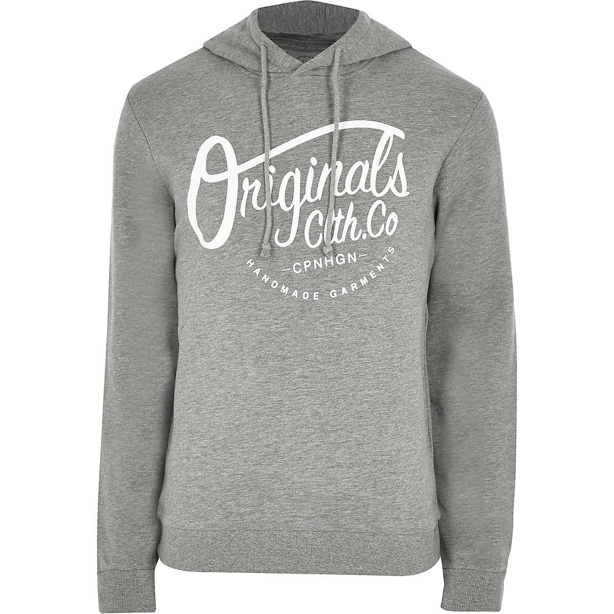 Jack & Jones grey front print hoodie