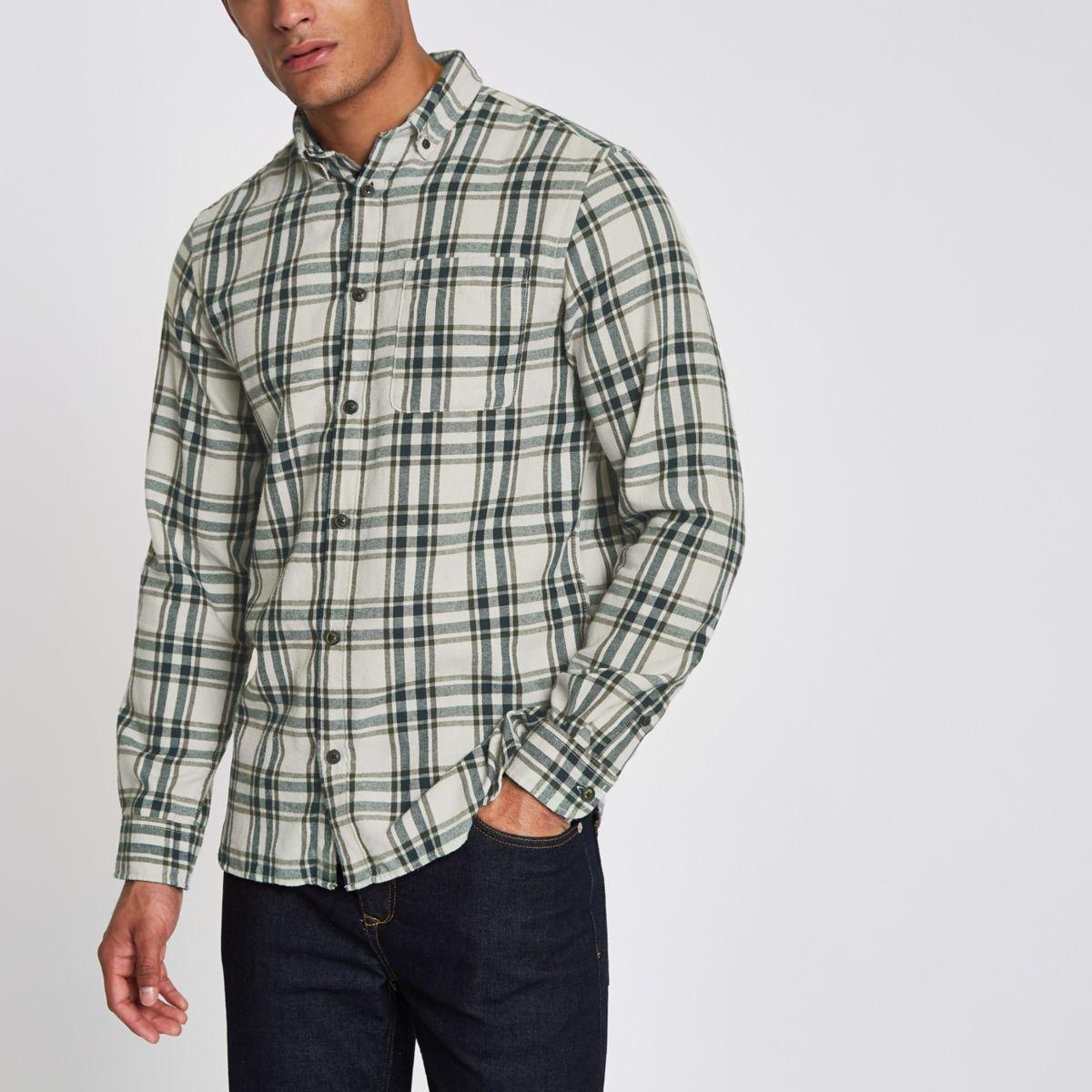 Groen Geruit Overhemd.Jack Jones Originals Groen Geruit Overhemd Overhemden Met