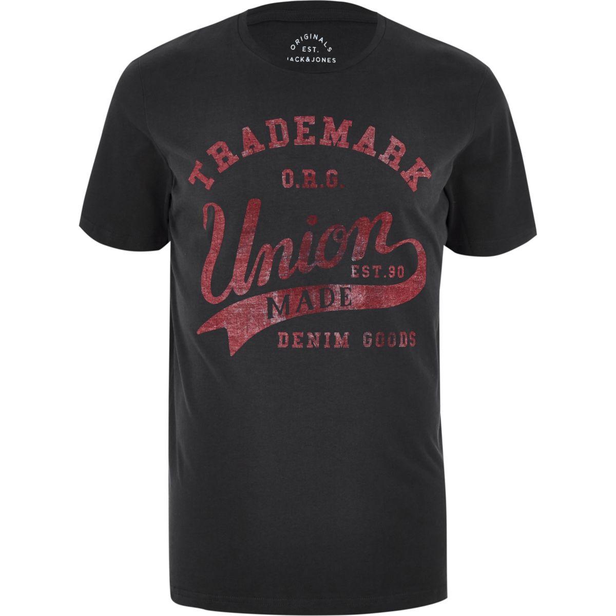 Jack & Jones dark grey 'union' T-shirt