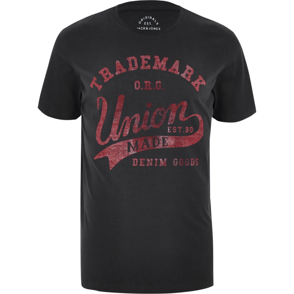 Jack & Jones dark grey 'union' T-shirt
