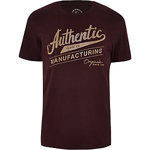 Jack & Jones – T-shirt « authentic » rouge foncé