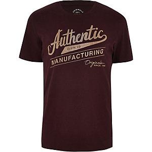 Jack & Jones - Donkerrood T-shirt met 'authentic'-print