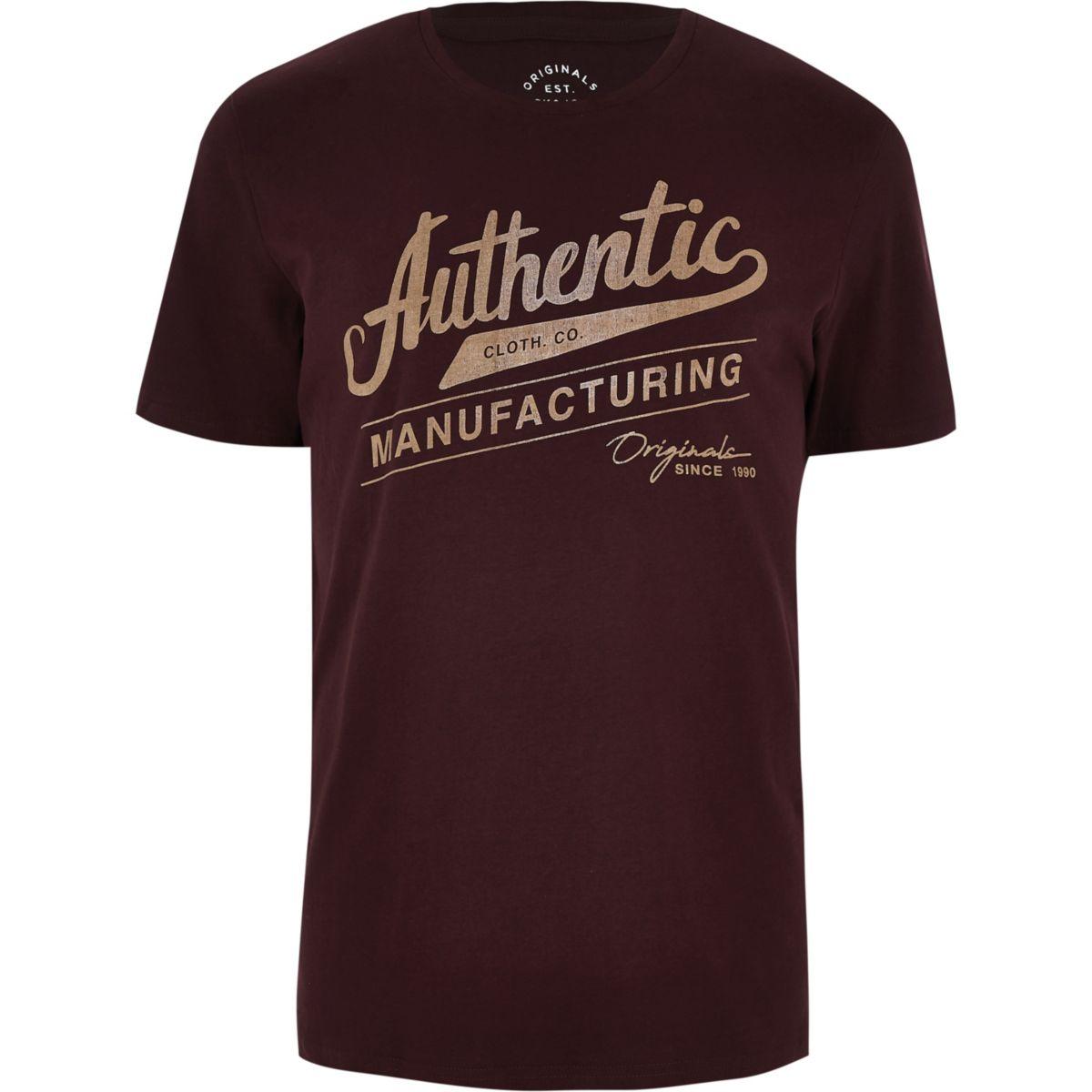 Jack & Jones dark red 'authentic' T-shirt
