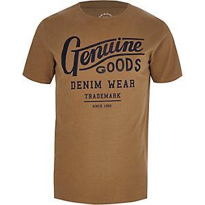 """Jack & Jones – T-Shirt """"genuine goods"""" in Ecru"""