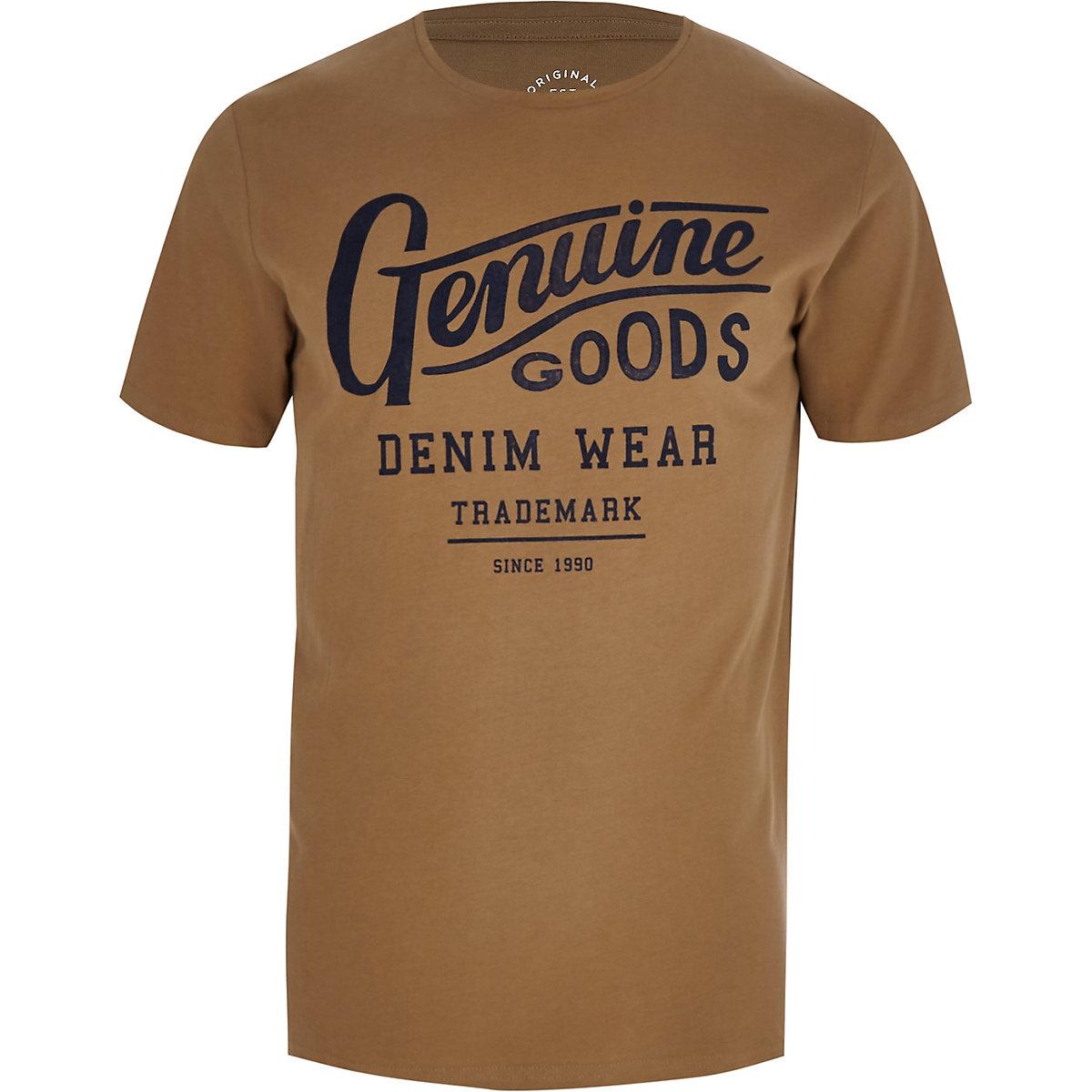Jack & Jones ecru 'genuine goods' T-shirt