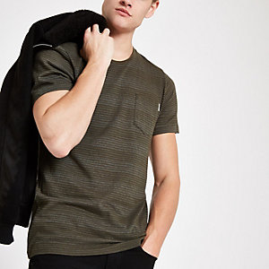 Jack & Jones Originals – Grünes, gestreiftes T-Shirt