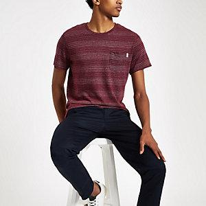 Jack & Jones – Gestreiftes T-Shirt in Bordeaux