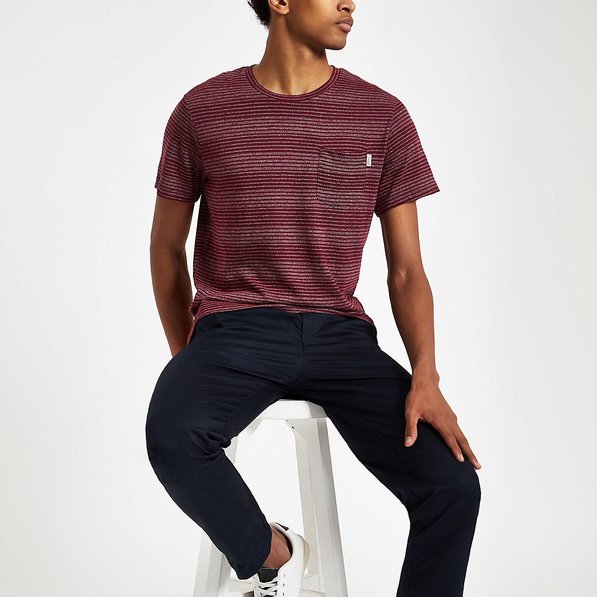 Jack & Jones burgundy stripe T-shirt