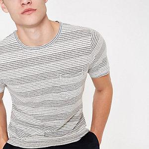 Jack & Jones Originals grey stripe T-shirt