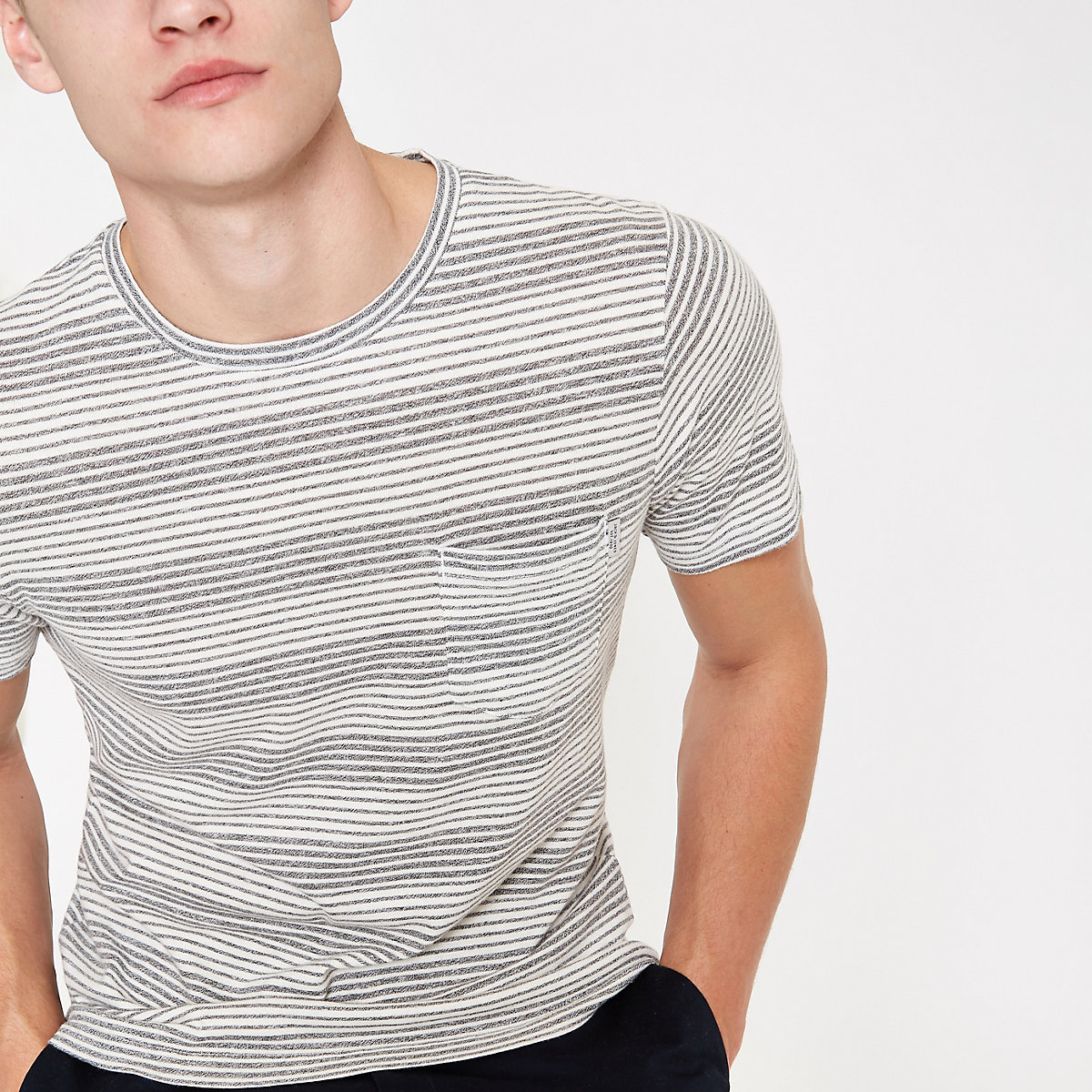 Jack & Jones Originals grey stripe T-shirt