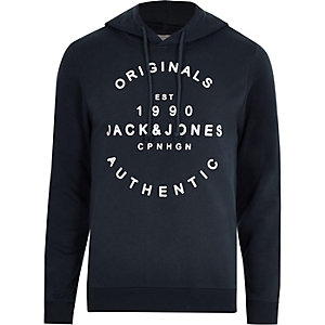 Jack & Jones navy front print hoodie