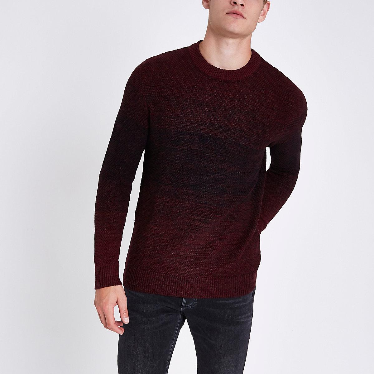 Jack & Jones Originals dark red knit jumper