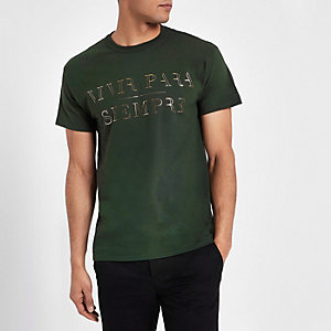 Dark green 'vivir' metallic print T-shirt