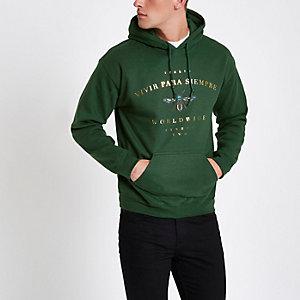 Donkergroene hoodie met wespenprint