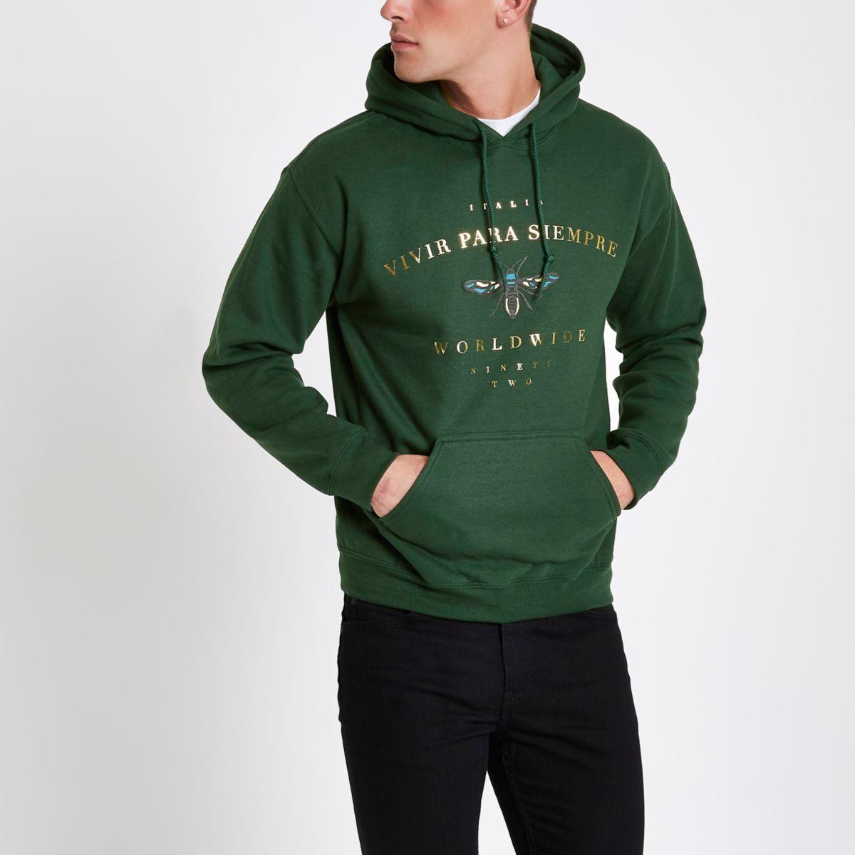 Dark green wasp print hoodie