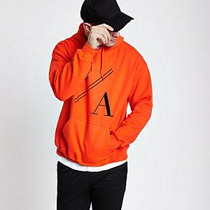 Orange 'LA' print long sleeve hoodie