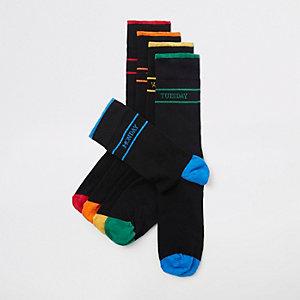 Multipack zwarte sokken met dagen van de week