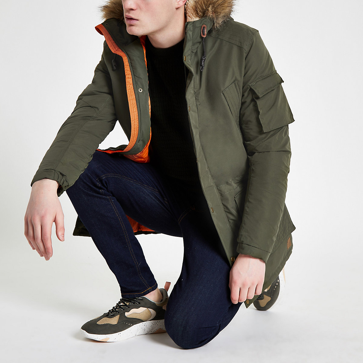 Jack & Jones green hooded parka jacket
