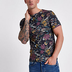 Grey muscle fit floral cube print T-shirt
