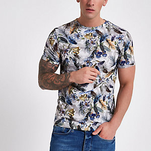 Grijs aansluitend T-shirt met bloemenprint
