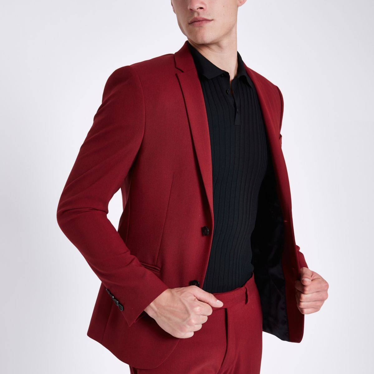 Red super skinny fit suit jacket