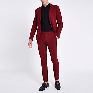Red super skinny fit suit pants