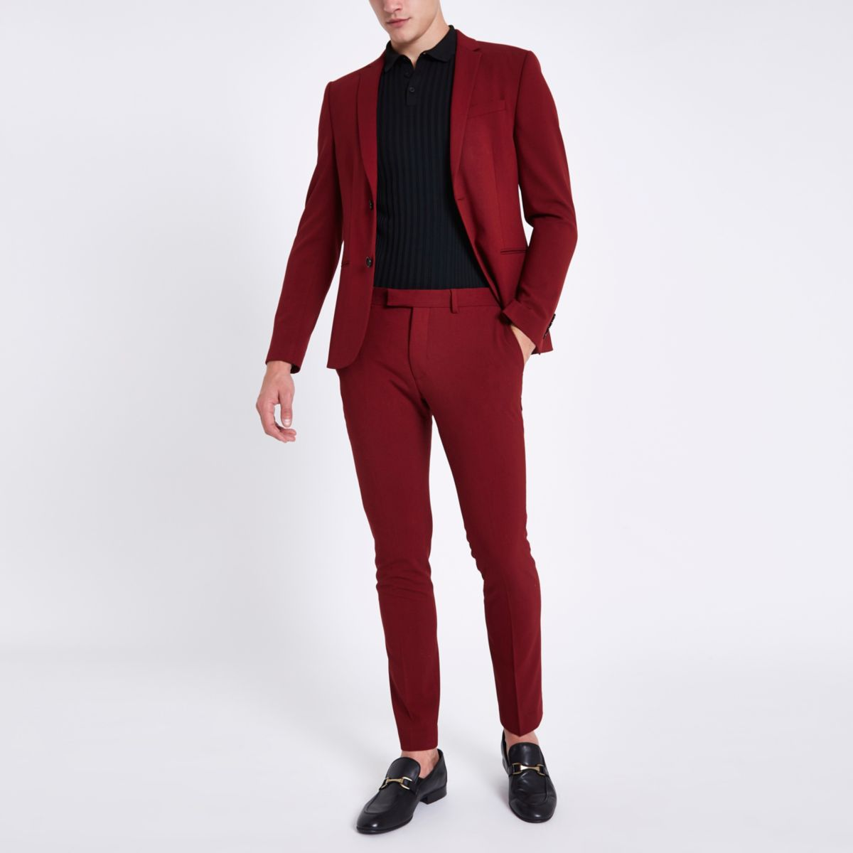 fit Red suit trousers skinny super E4qRwBY
