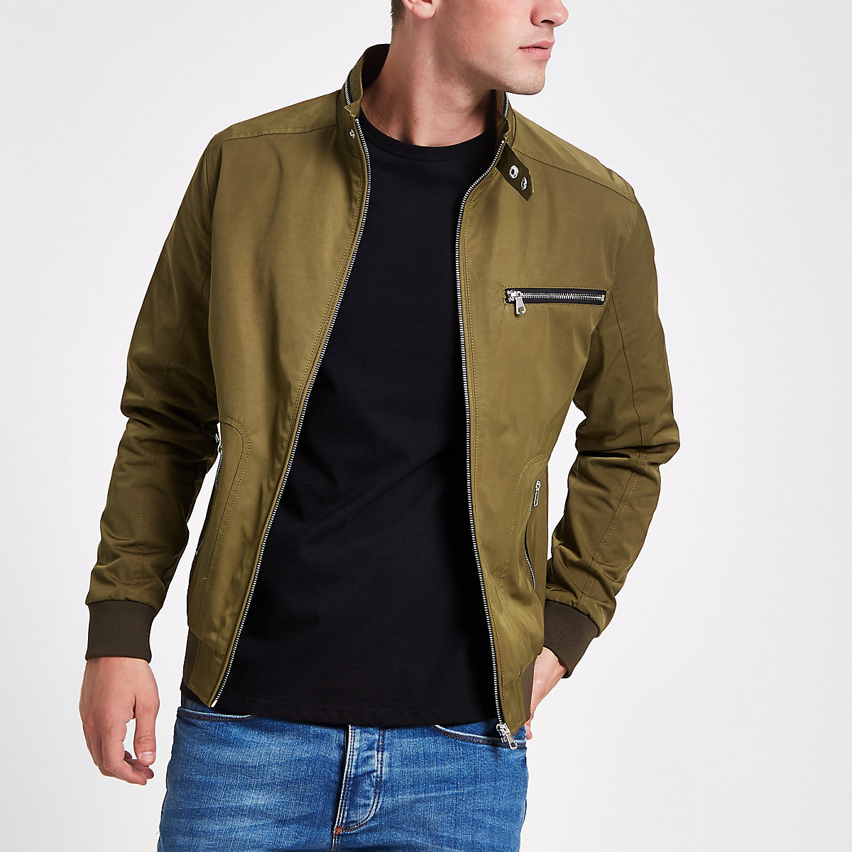 Khaki racer neck lightweight jacket