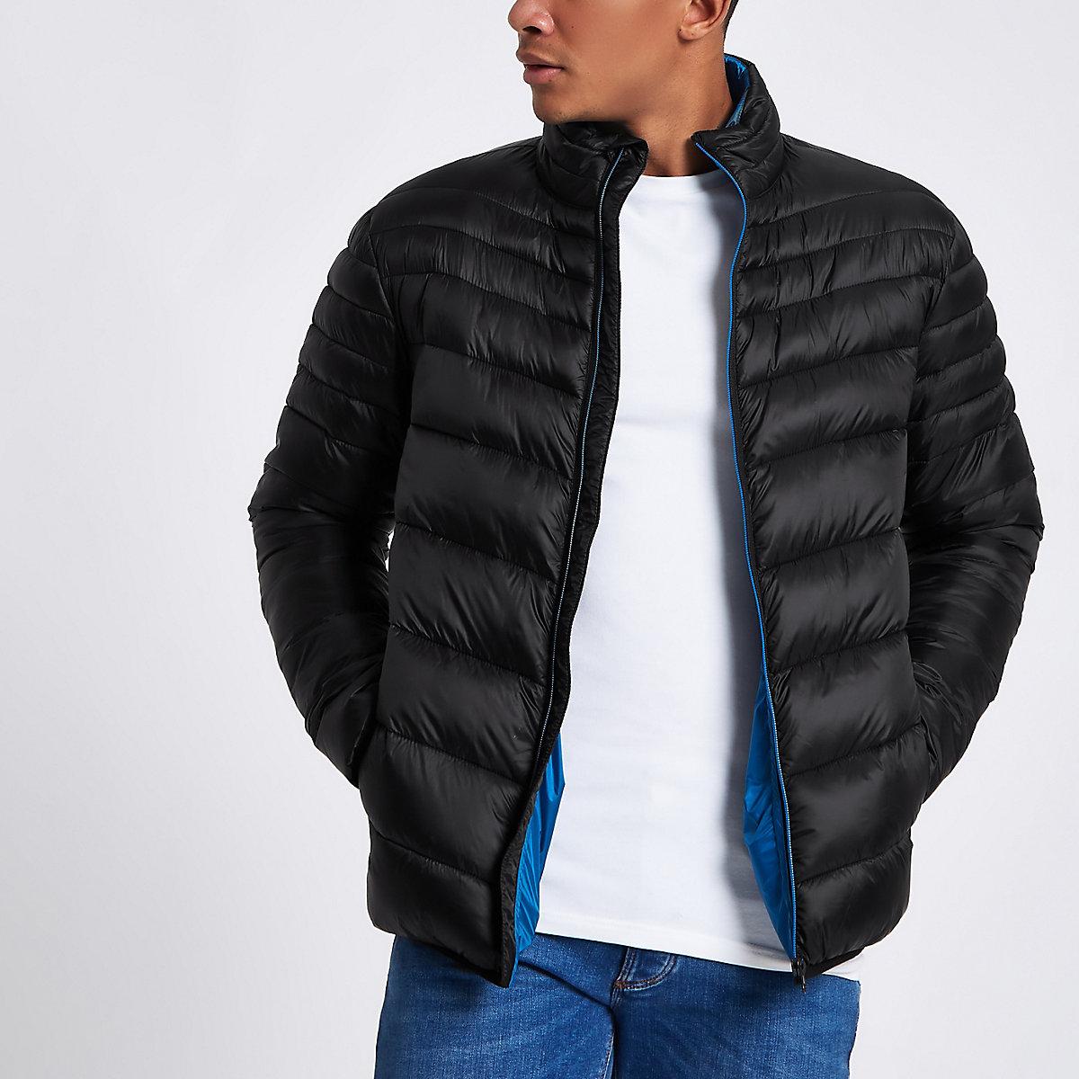 Black zip front funnel neck puffer jacket